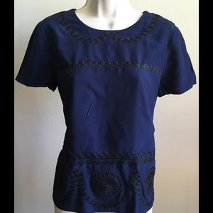 BODEN navy blue shirt with embroidery,size 6